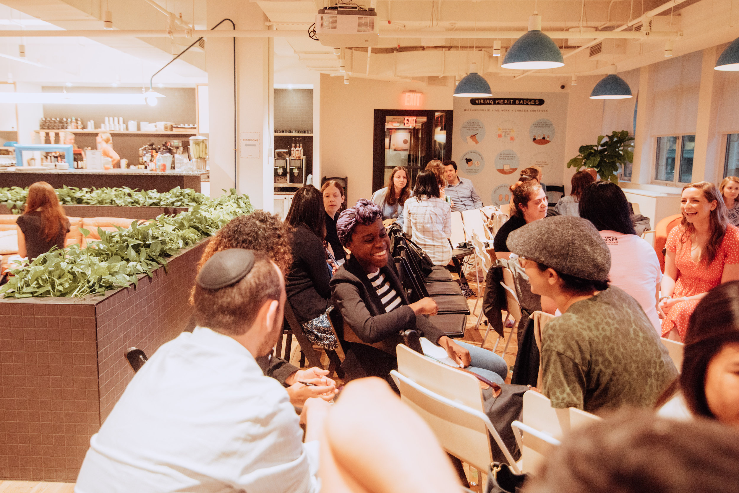Participants at a WeWork workshop discuss their emotion tendencies, photos by Lori Gutman