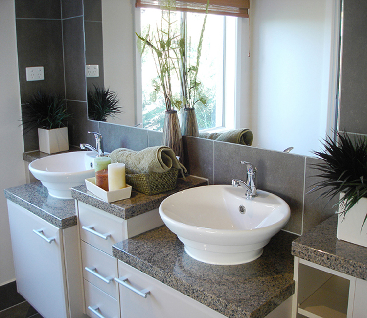 Granite Countertops with Porcelain Sinks
