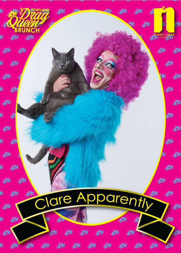 """CLARE APPARENTLY - Clare Apparently is our other host and our resident Comedy Queen! She has been performing for the last six years throughout the Pacific Northwest. Recently cast on the drag-based competition series """"Camp WannaKiki"""", Clare is known for her musical mixes, usage of the brightest colors she can find, and her props!"""