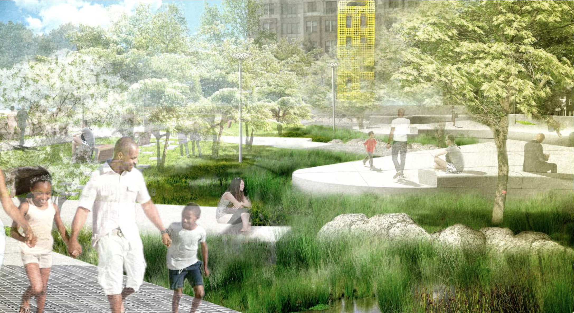 Conceptual rendering of John Robinson, Jr. Town Square from the official plan approved by Arlington County