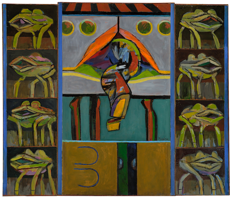 Turtle Triptych , 1963, oil on canvas (three panels, hinged together), overall: 54 5/8 x 63 1/2 in. (138.7 x 161.3 cm)