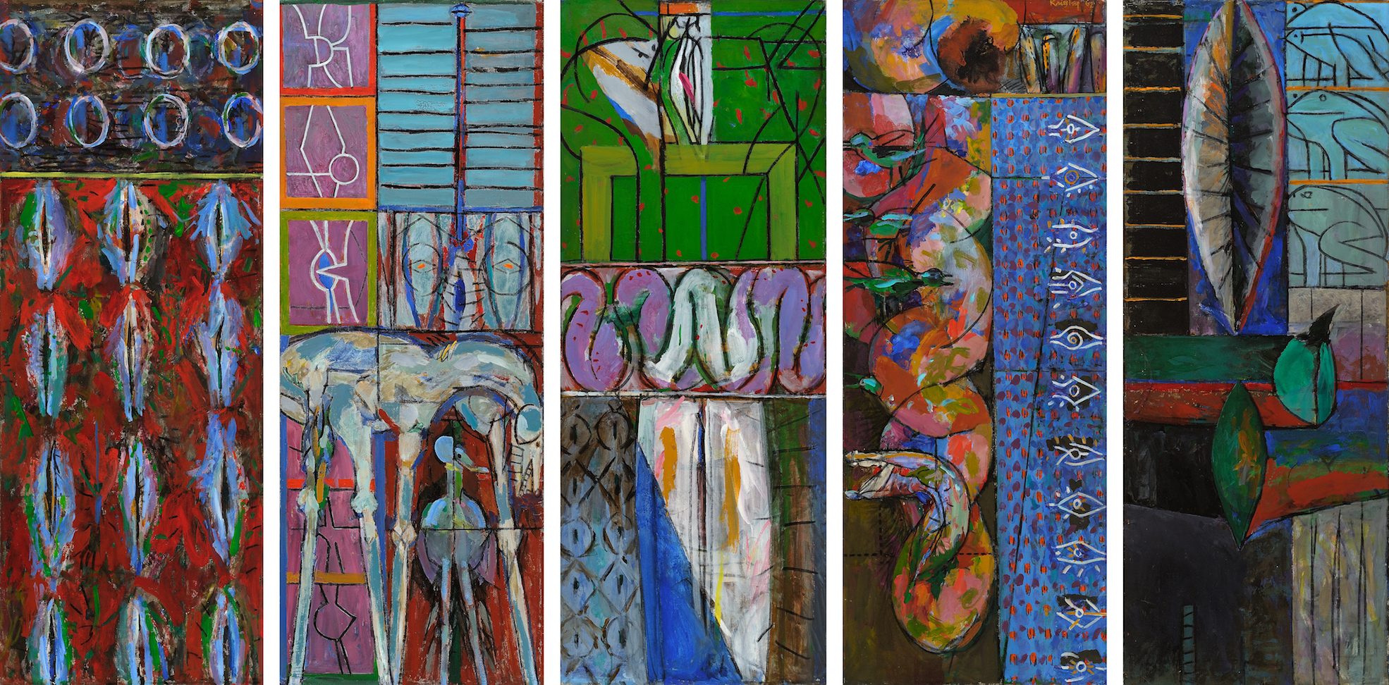 Beginnings , 1962, Oil on canvas (five panels), overall: 56 1/2 x 110 3/4 in. (143.5 x 281.3 cm)