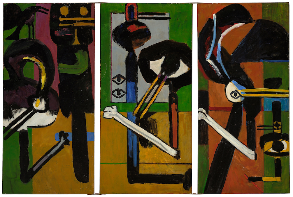 Malcolm , 1965, oil on canvas (3 panels hinged together), overall: 50 3/8 x 74 3/4 in. (128 x 189.9 cm)