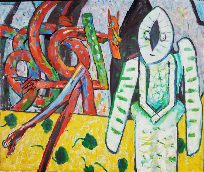 In the Garden , 1990, oil on canvas, 68 x 80 in. (172.7 x 203.2 cm). Collection of Boca Raton Museum of Art, Boca Raton, Florida