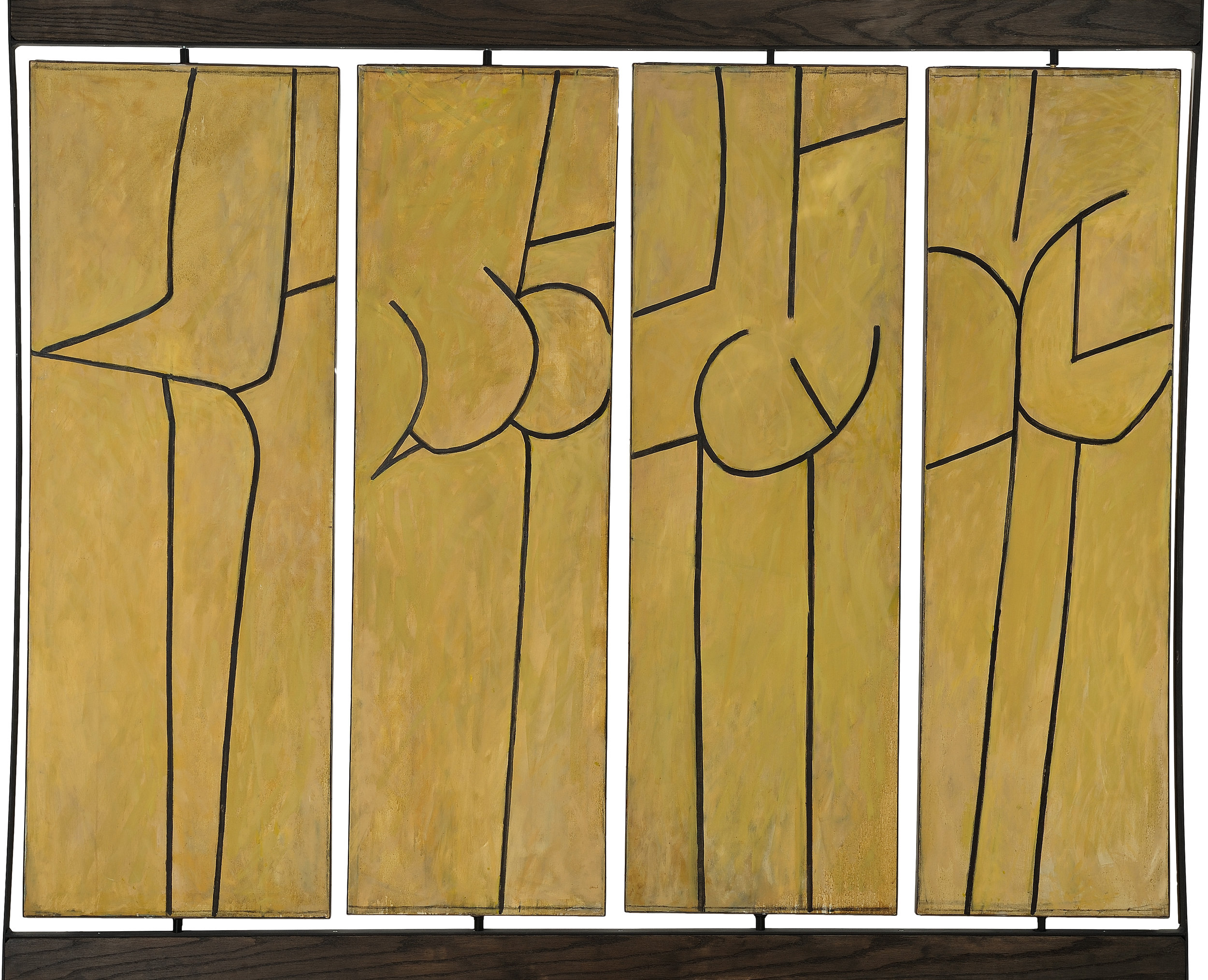 Reversible Quadriptych (Martha's Dancers) , 1963, Oil and charcoal on canvas (four panels, reversible), Overall (including armature: 72 x 78 1/4 in. (182.9 x 198.8 cm) Collection of the Estate of Irving Kriesberg