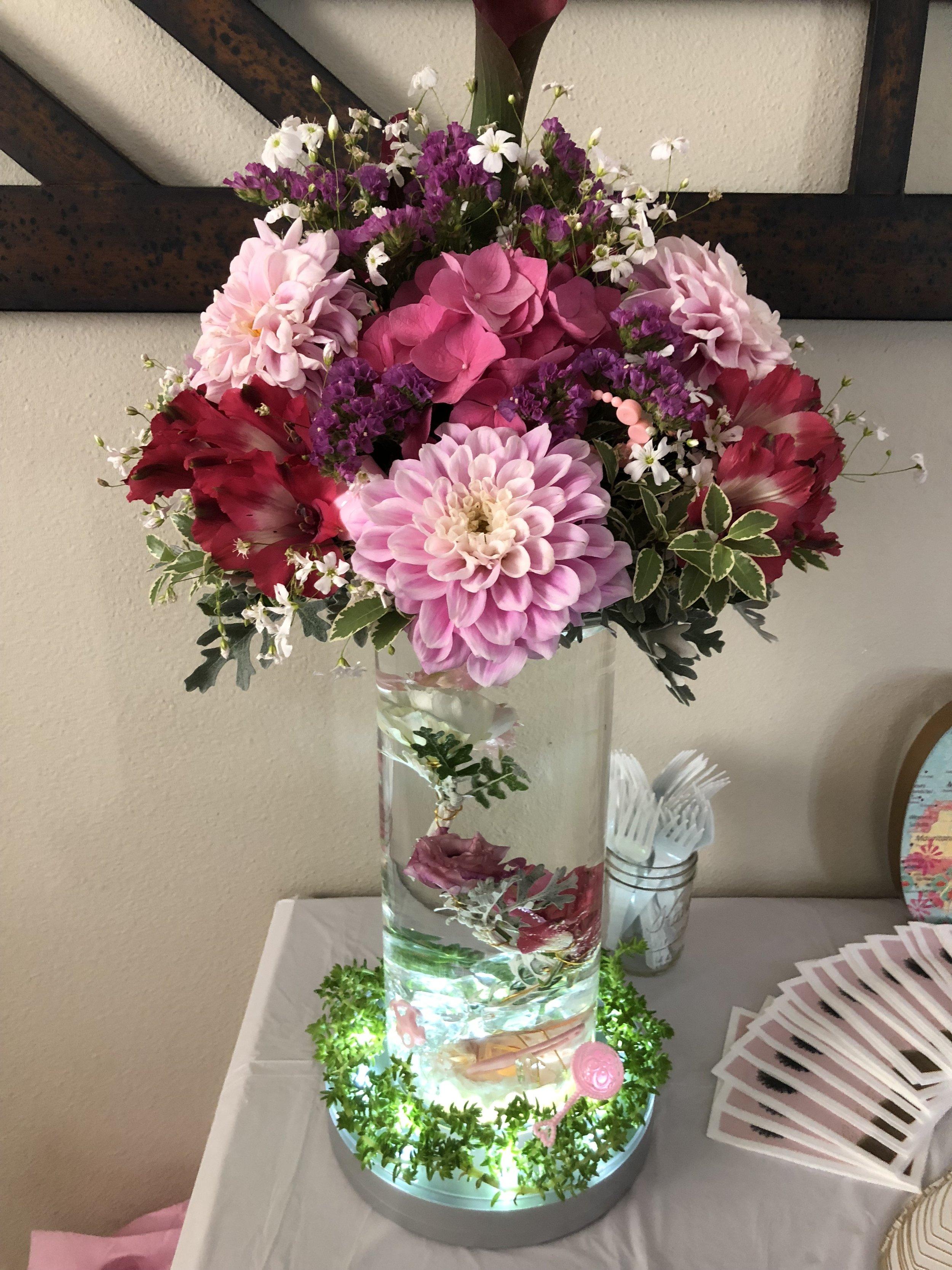 Elevated Medium Arrangement with Submerged Flower Vase - FLO 009