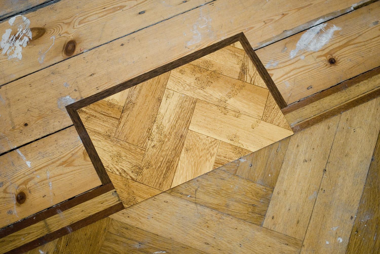 Renovation , 2014 Acrylic on found vinyl flooring, adhesive vinyl on floor 35 x 25 cm / 13.8 x 9.8 inches