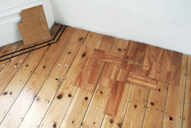 Light Grains , 2014 Light on wood   Renovation,  2014 Acrylic on found vinyl flooring, adhesive vinyl on found vinyl flooring and floor