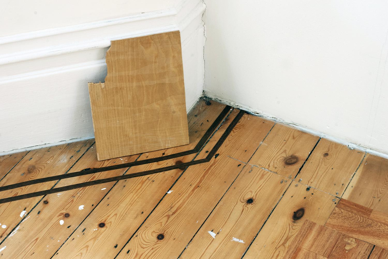 Light Grains , 2014 Light on wood   Renovation  (detail) ,  2014 Adhesive vinyl on floor