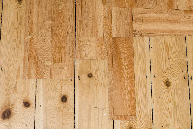 Renovation  (detail) ,  2014 Acrylic on found vinyl flooring, adhesive vinyl on found vinyl flooring and floor