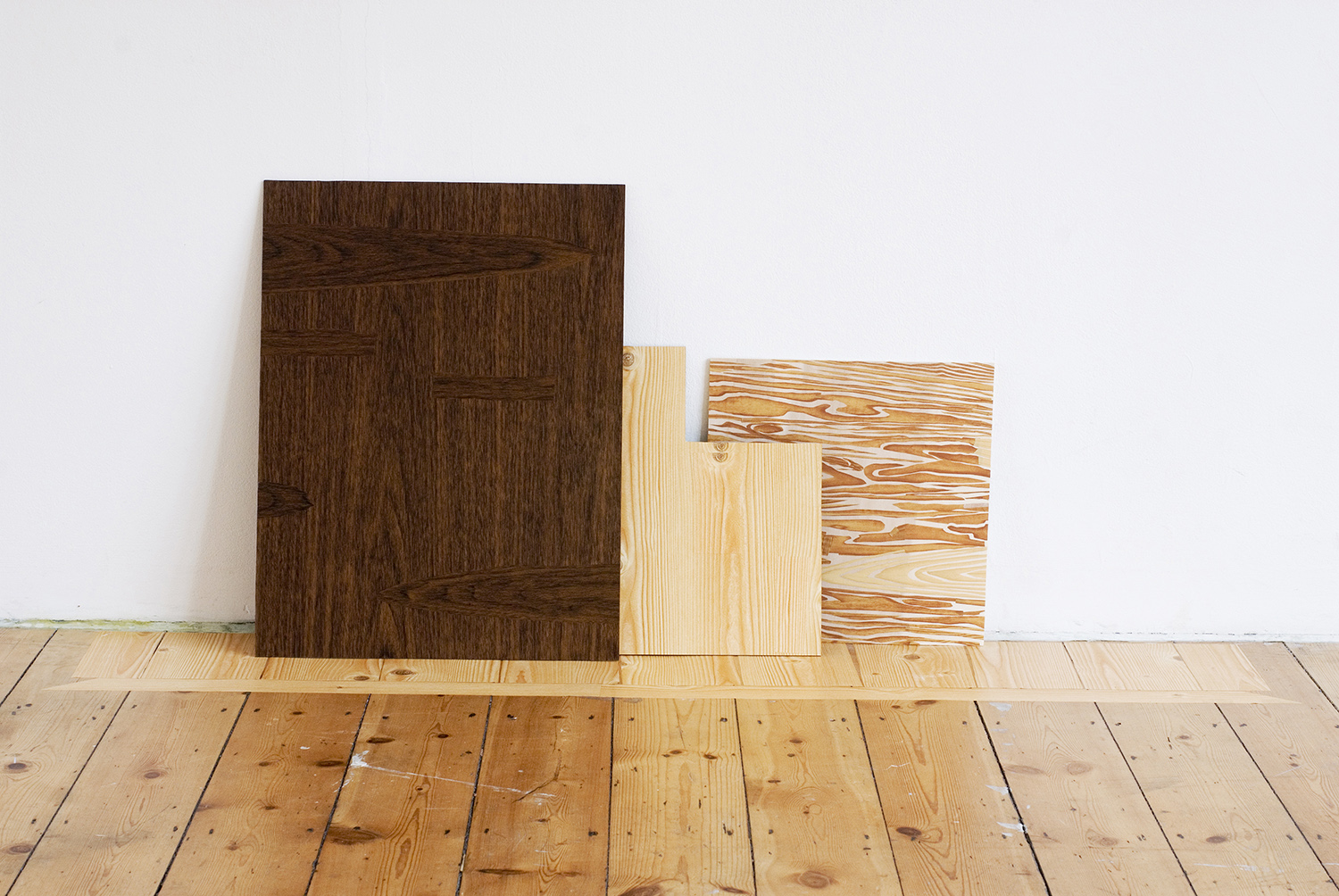 Masquetry IV , 2014 Adhesive vinyl on board, bass wood, and floor 90 x 40 cm / 35.4 x 15.7 inches