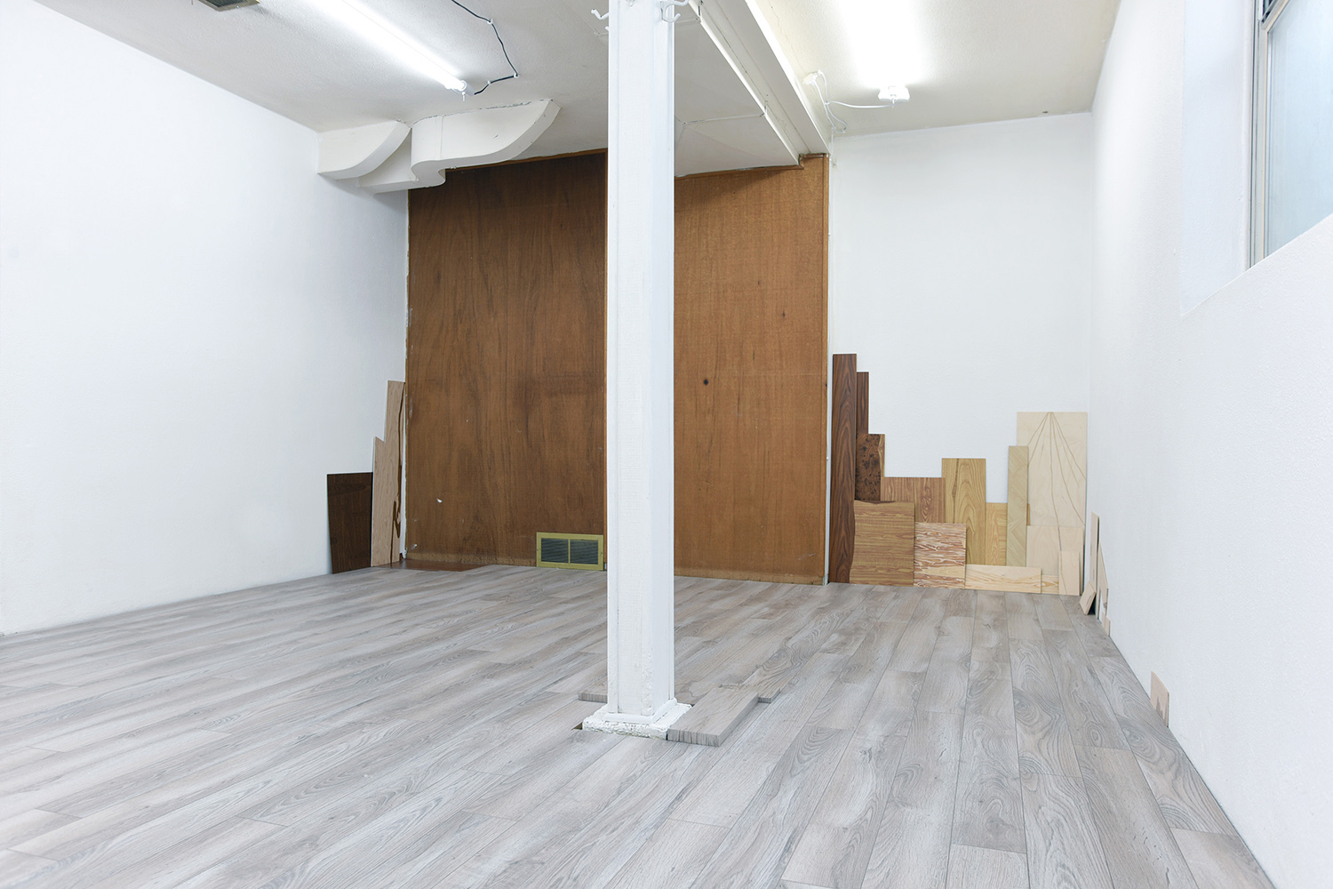 Masquetry V , 2014–2018 Adhesive vinyl on found laminate and wood   Stain Paintings , 2018 Acrylic on found vinyl flooring
