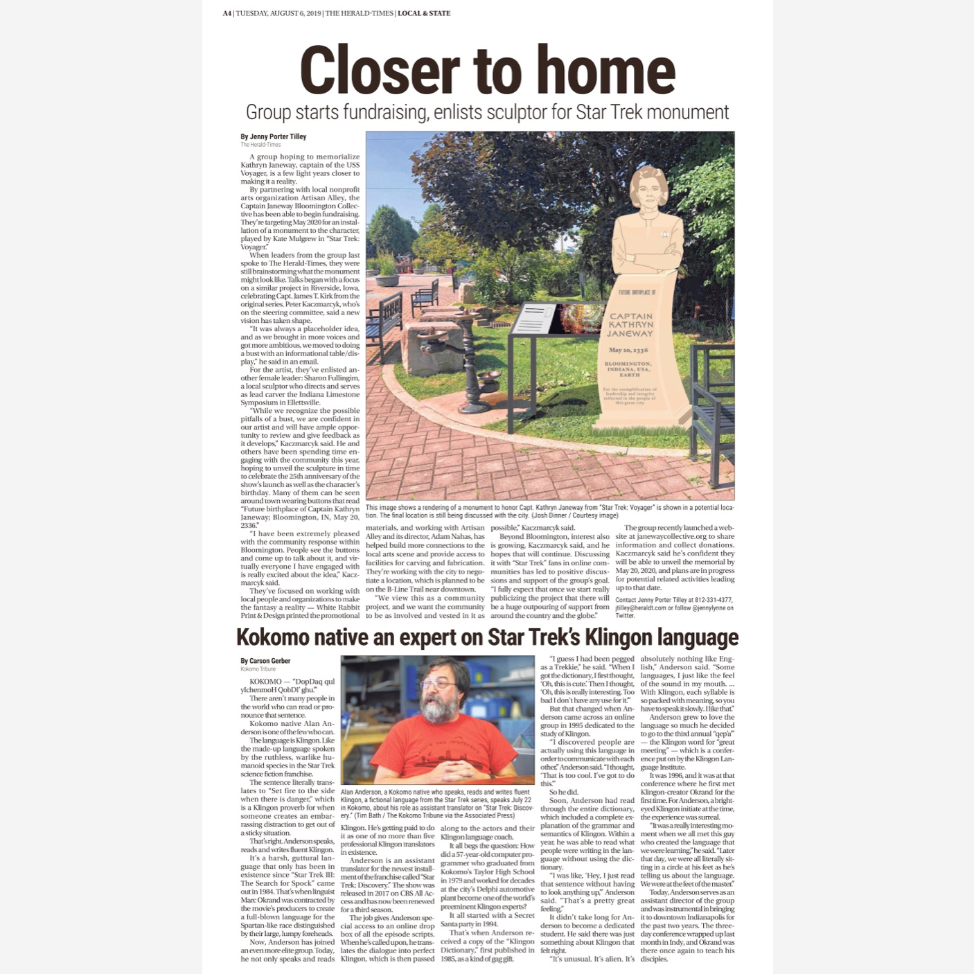 The Herald-Times devotes an entire page to Star Trek news… - August 6, 2019