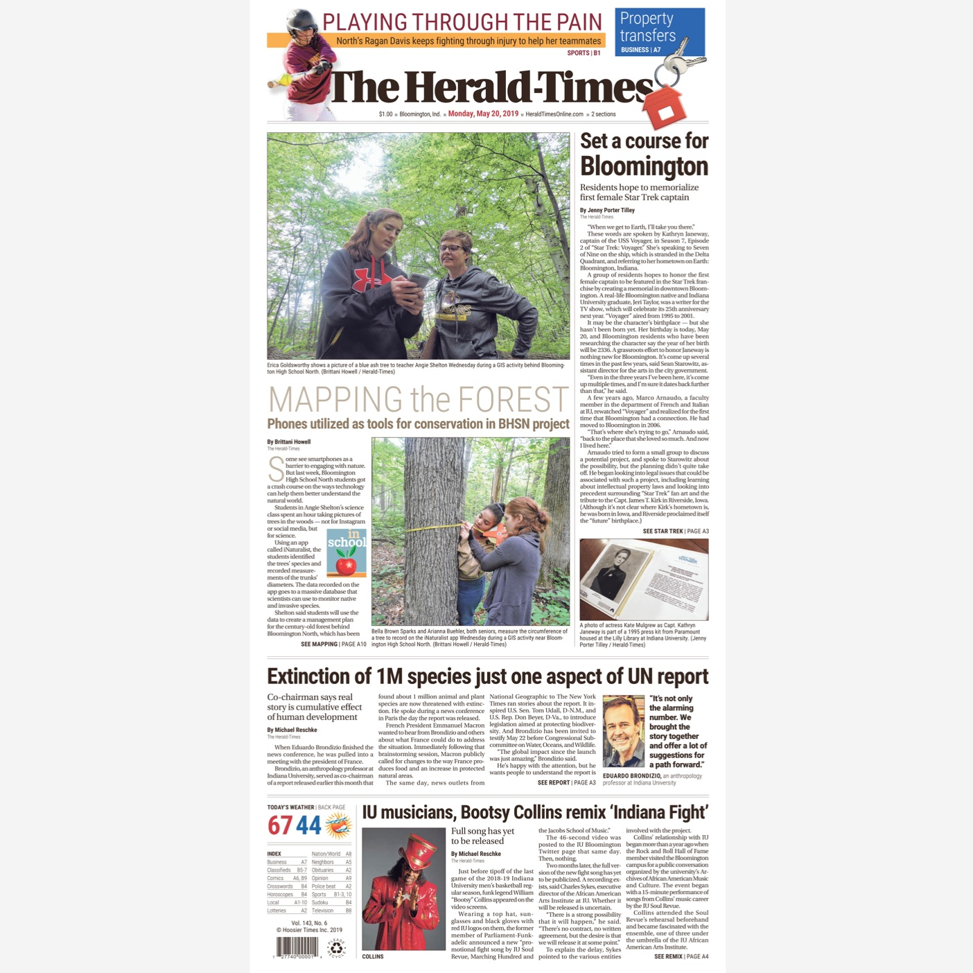 Front page news! - Set a course for Bloomington, an article about the Janeway Collective from Bloomington's local paper. May 20, 2019