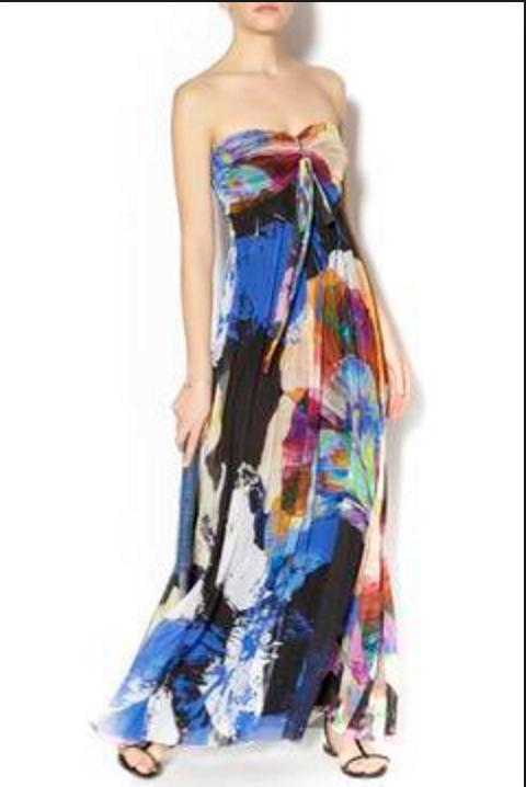 Elana Kattan Strapless Long Dress