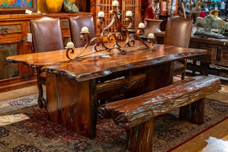 Live Edge Mesquite and Inlaid Turquoise Dining Table