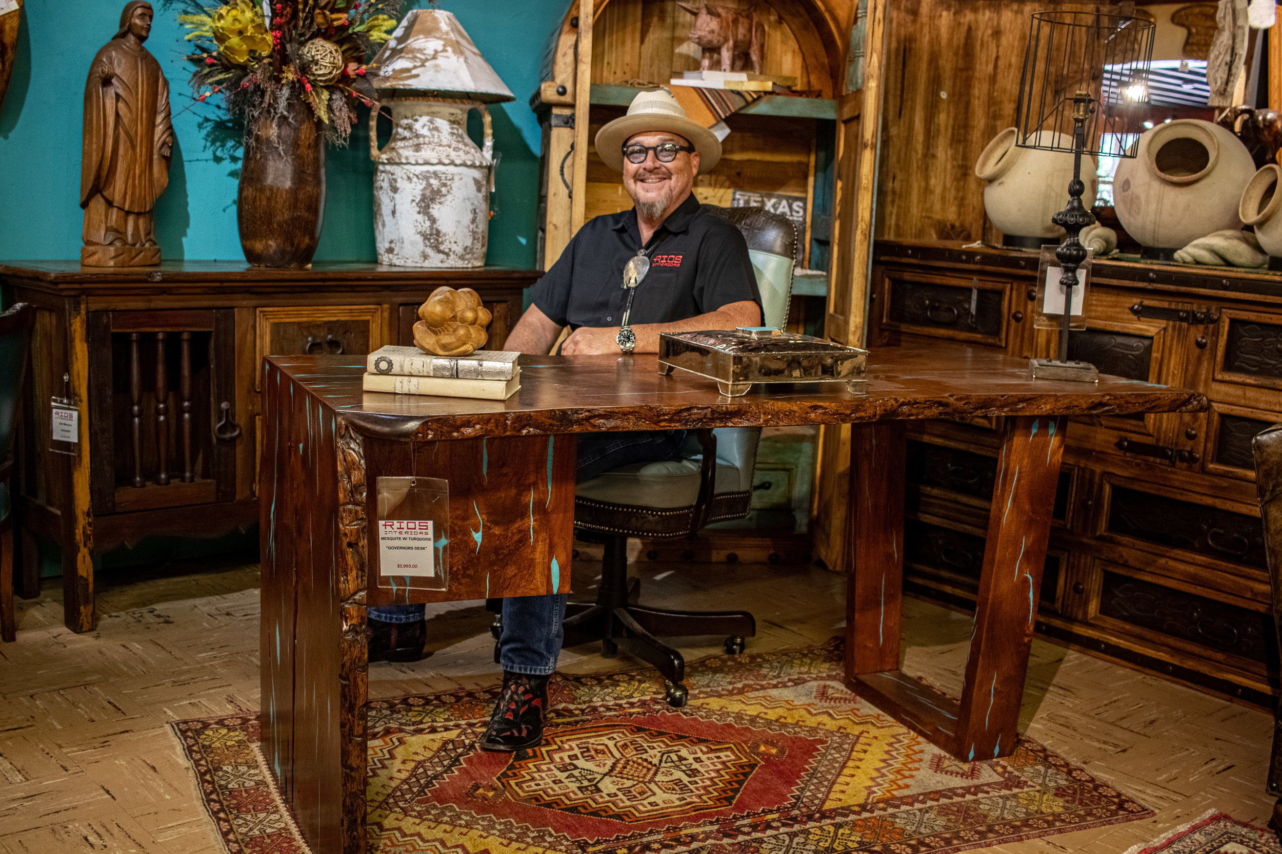 Mesquite and Turquoise Desk