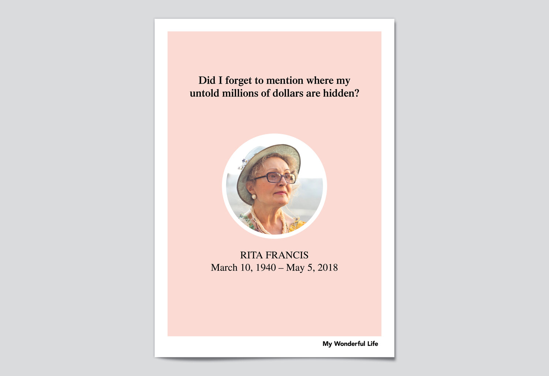 Free Editable Funeral Program Templates My Wonderful Life