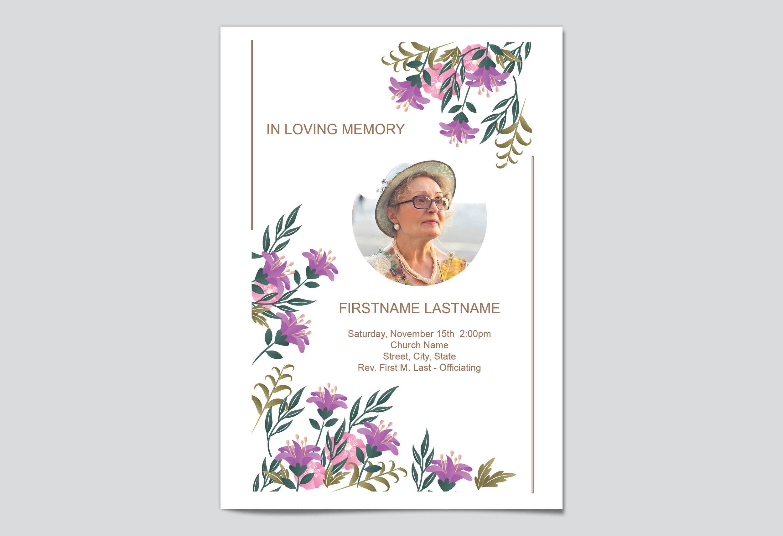 Free Editable Funeral Program Templates  My Wonderful Life Within Church Program Templates Word
