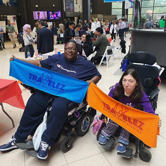 Shoutout to two of the first TravelEZ Advocates showing off their swag at the #mtsinai #rehabfair @purplepop2345 @icyishott_60_milestone  The towels are going out to the first people in NYC who an account on TravelEZ.org. The website shows 500+ accessible restaurants, bars, and cafes in nyc for your next date night or lunch or anything in between! If you wanna join the TravelEZ team, just create an account at TravelEZ.org (bio in link). It's the best site for wheelchair users yet!