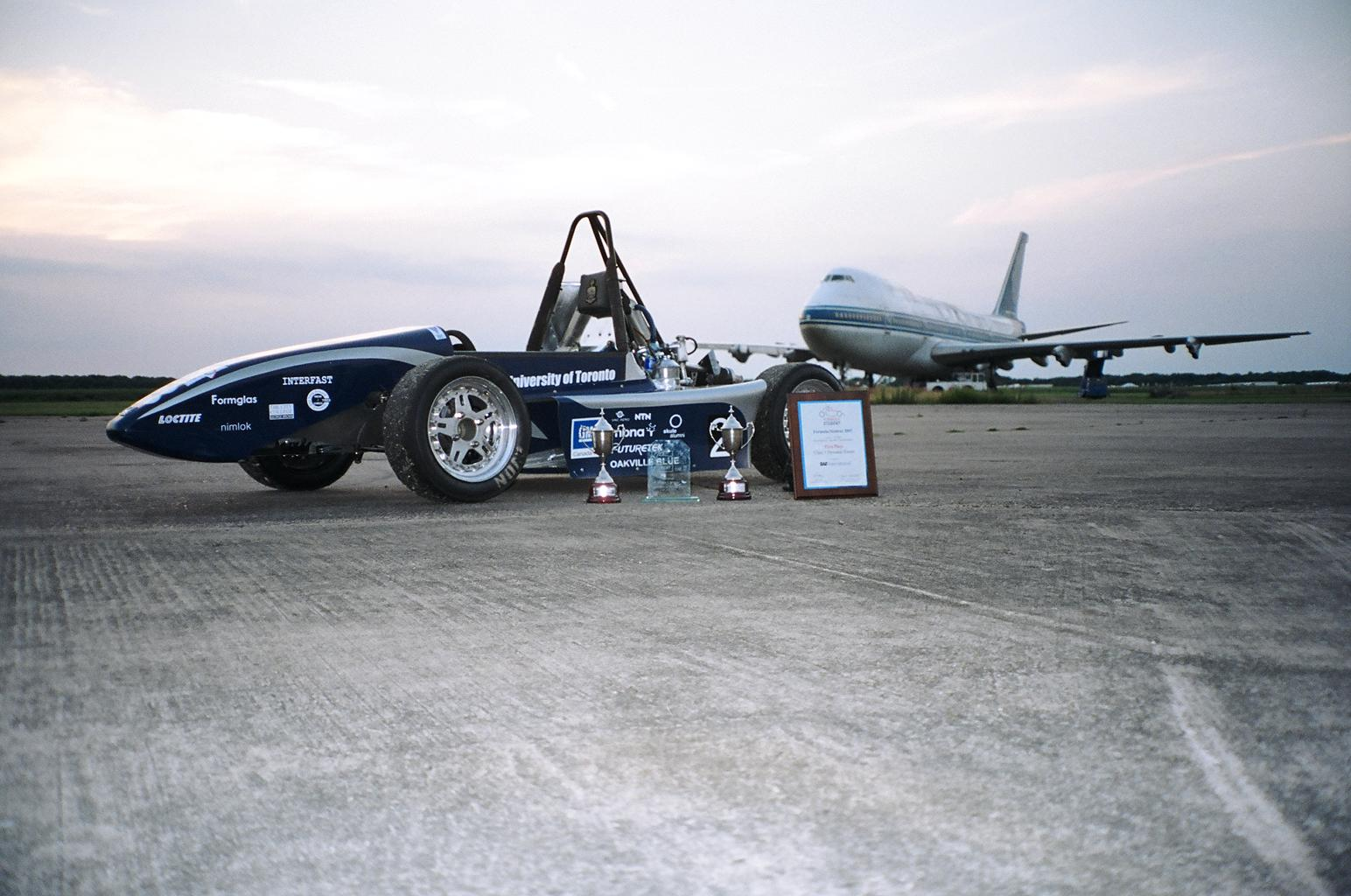 UT05 after winning overall at Formula Student UK in 2005 at Bruntingthorpe.