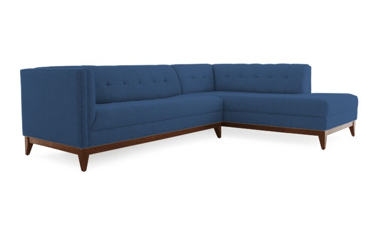 Stow Sectional with Bumper  in Key Largo Denim from Joybird, which we have to thank for this awesome website.