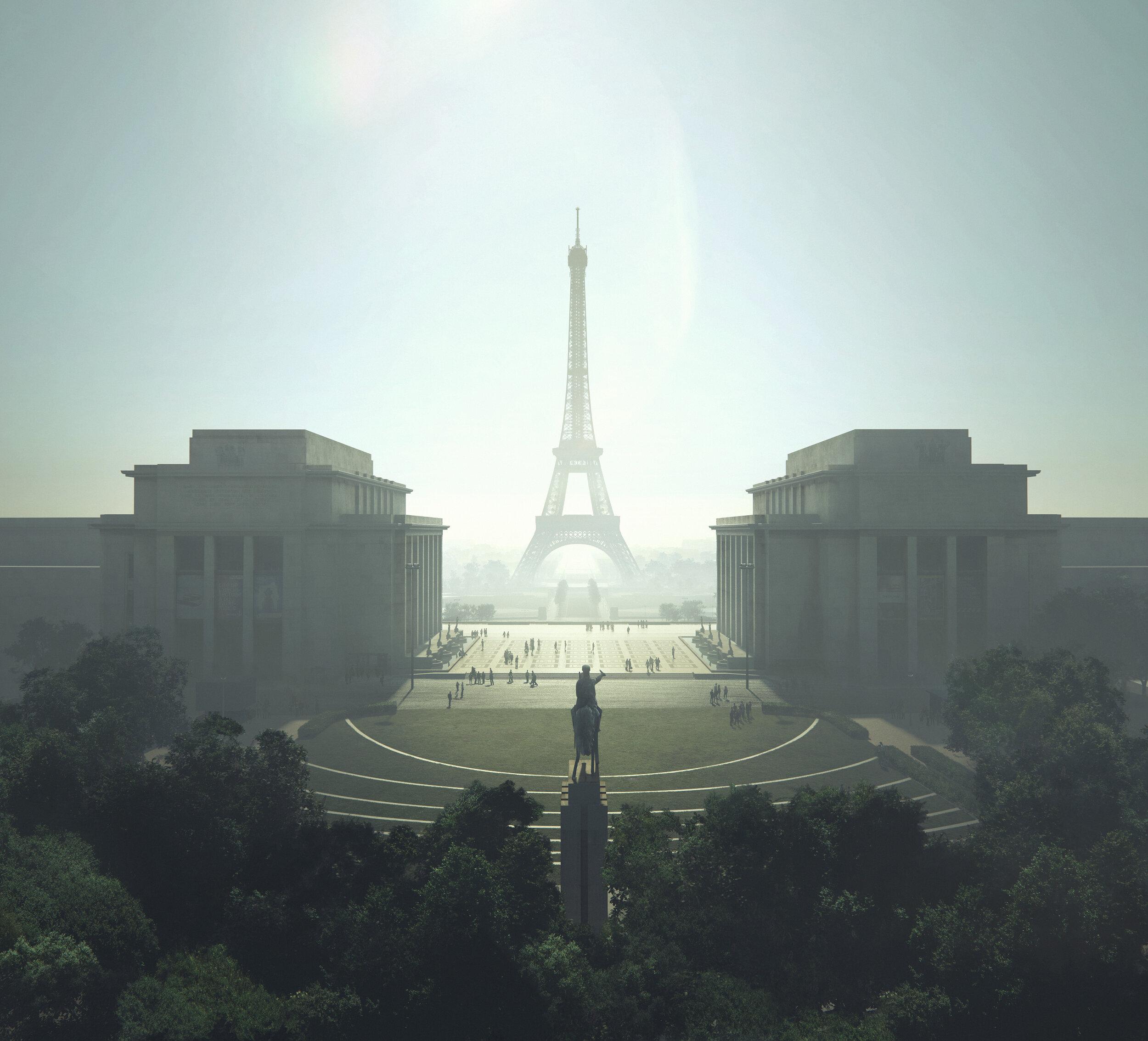 © MIR for GP+B - Site Tour Eiffel - Diffuse - www.mir.no - Vue sur la Tour depuis la Place du Trocadéro