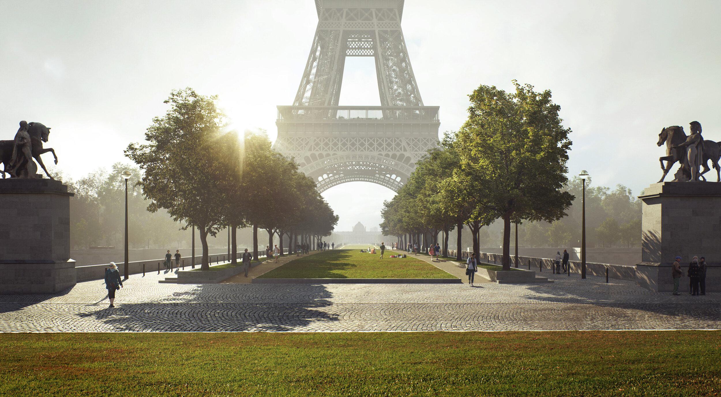 © MIR for GP+B - Site Tour Eiffel - MarchingTrees - www.mir.no - Le Pont d'Iéna Planté