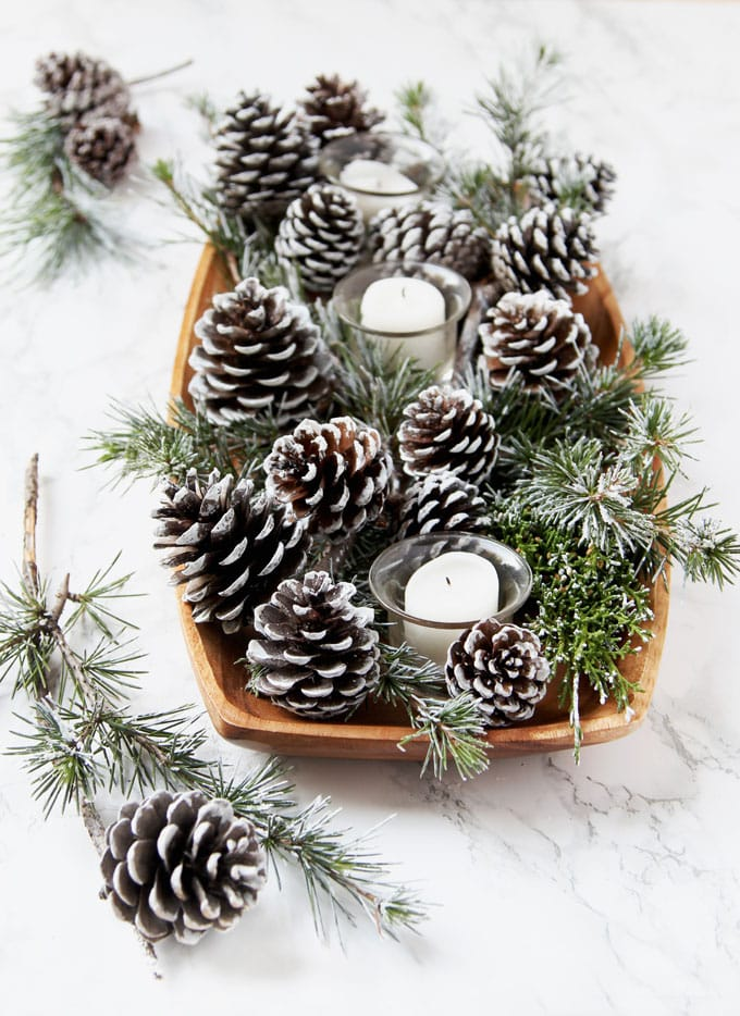 DIY Snow Covered Pine Cones     via A Piece of Rainbow