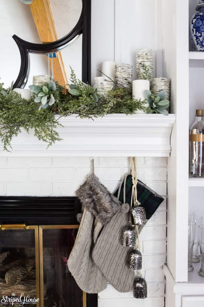 Christmas Mantel Decor  via The Striped House