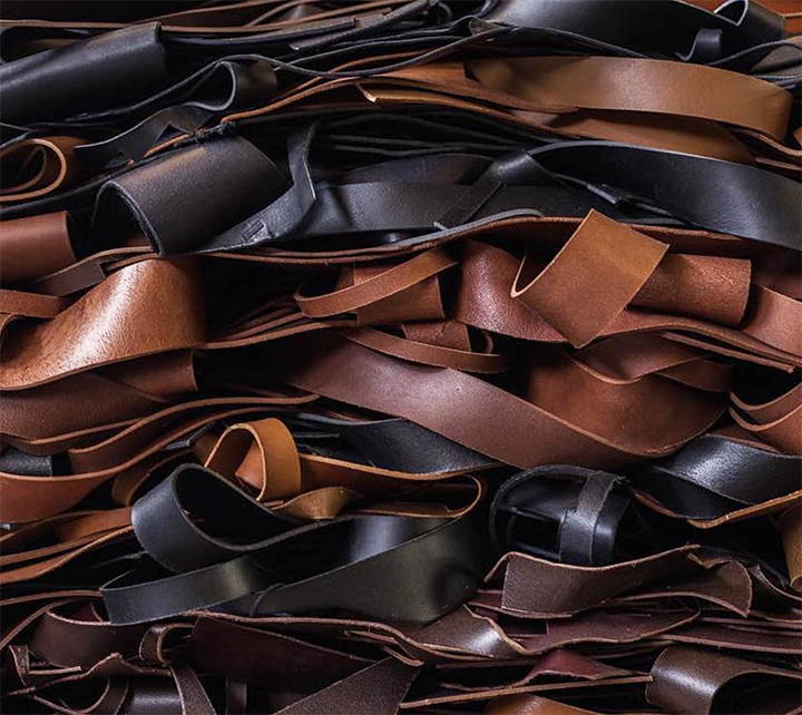 - Our scrap leather is recycled as trim on belts and in smaller leather goods items; thus eliminating the cost and fuel associated with buying new material and keeping the scrap leather out of the waste stream.