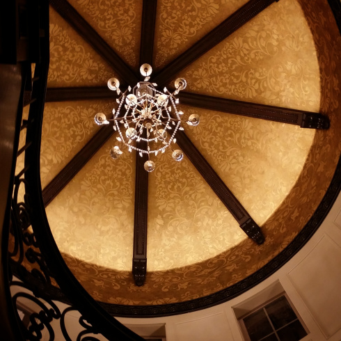 Turret ceiling with crystal chandelier