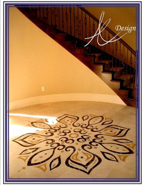 Azure Elizabeth artwork on the floor with wooden stairway