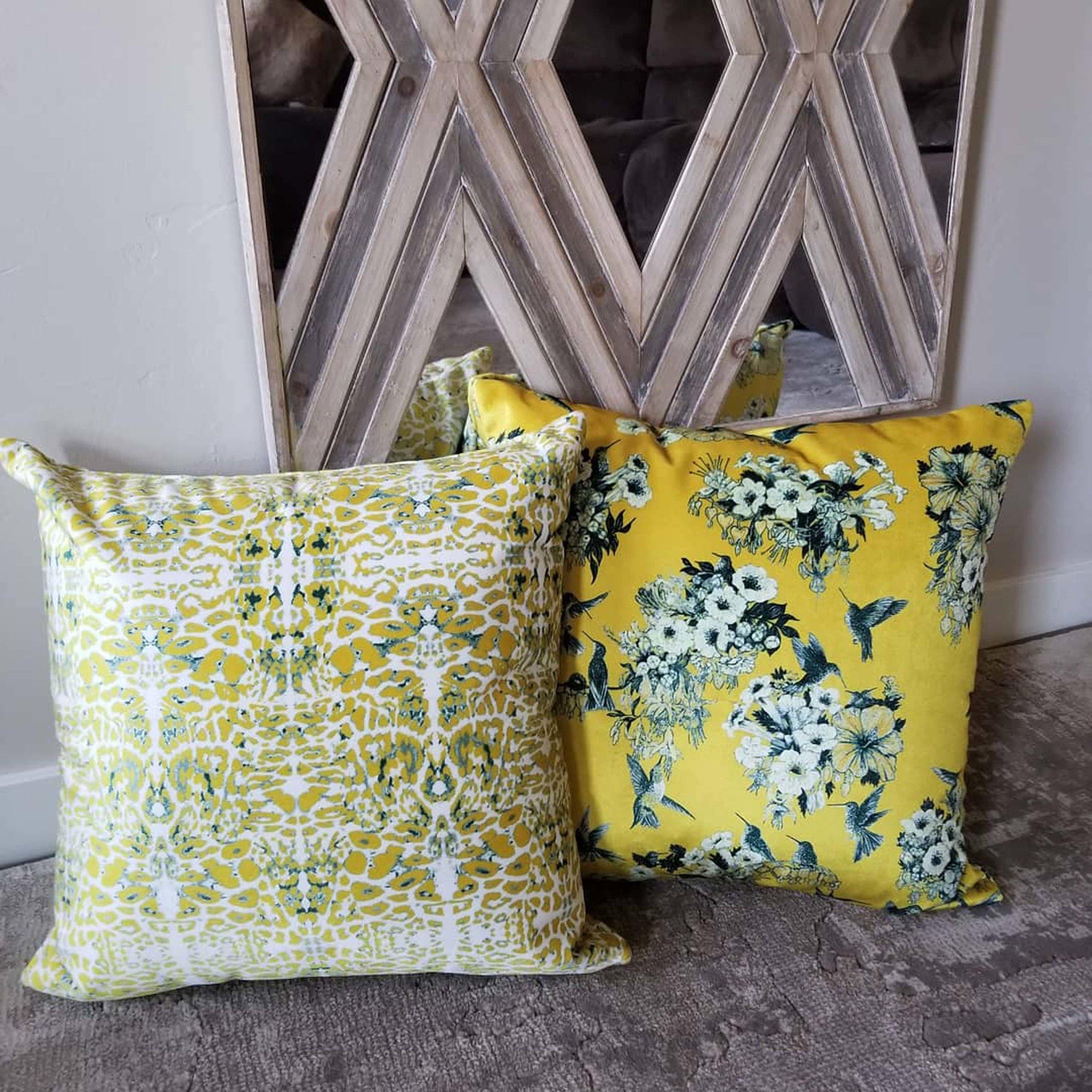 Set of soft yellow pillows