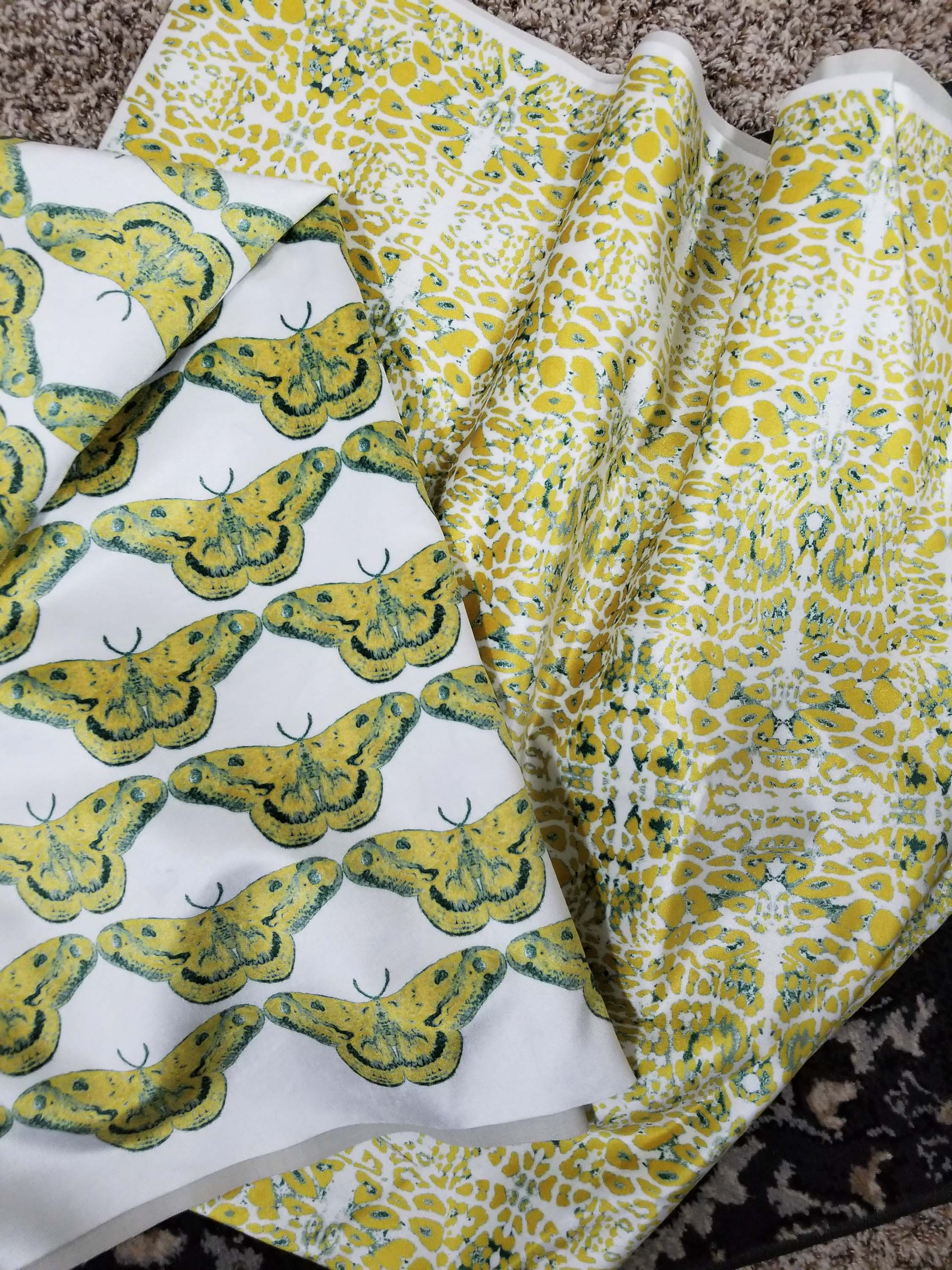 Yellow colored printed fabric