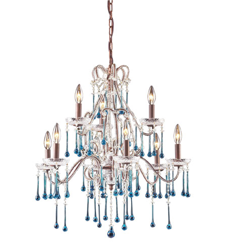Modern chandelier with blue crystals isolated on a white background