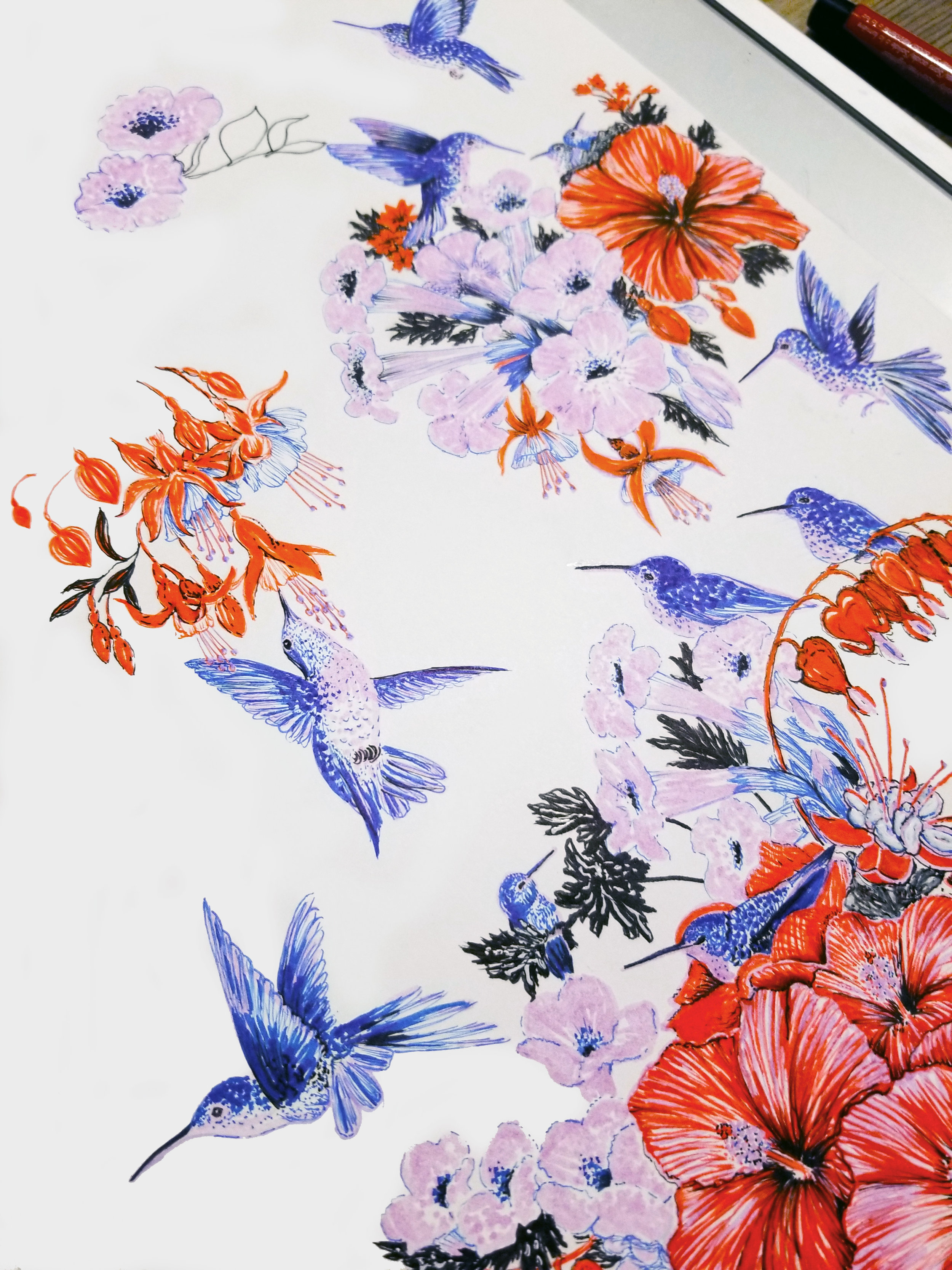 Fabric with floral and bird designs