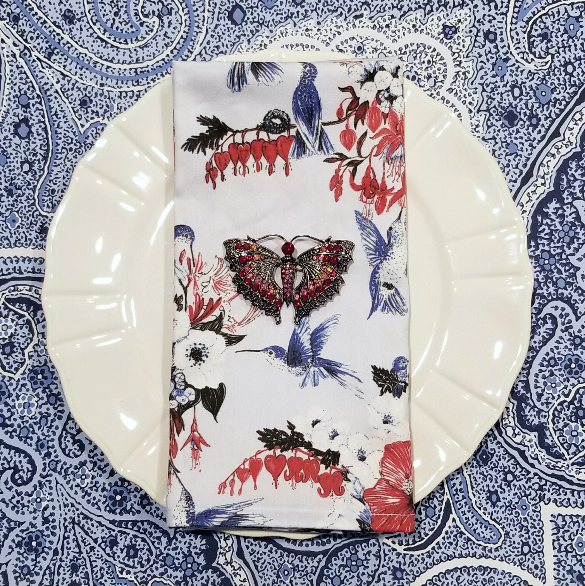 White plate with printed table napkin