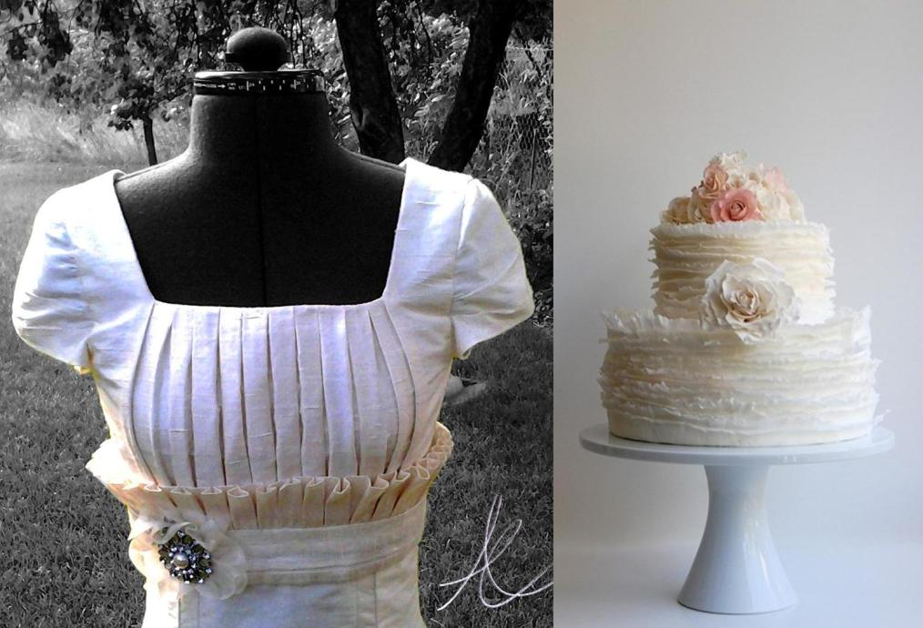 A traditional wedding dress and a ruffled cake