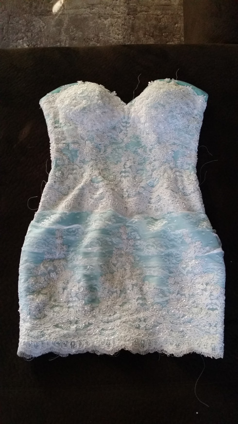 Tiffany blue dress covered with white lace