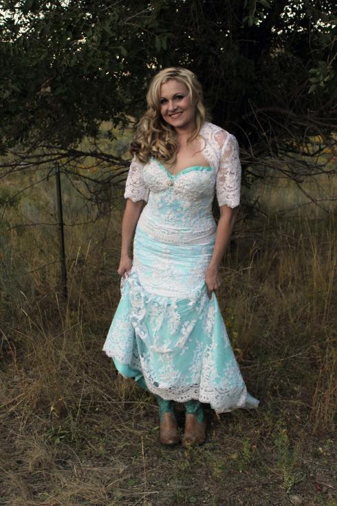 Azure Elizabeth outdoor photoshoot wearing boots and her wedding dress