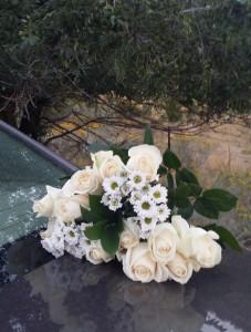 White flowers on car