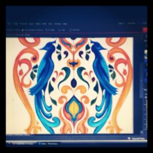 Bird design making on adobe photoshop on laptop screen close up view