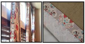 Curtain with printed bird design
