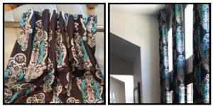 Brown curtain with printed bird design