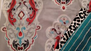 A fabric with printed bird design