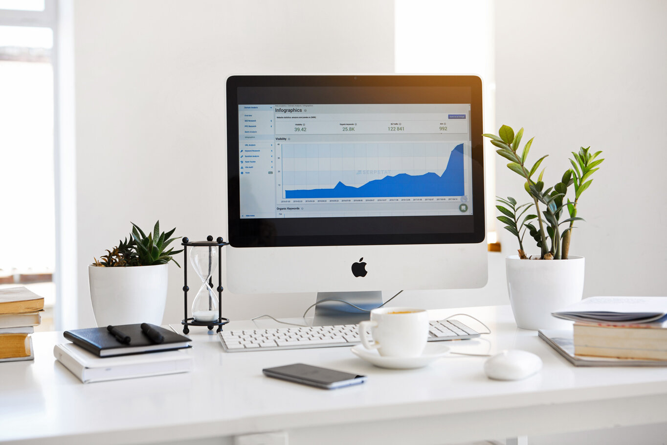 computer on a desk showing graph analytics