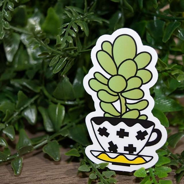 My new plant friend stickers came in!  #plants #plantmom #succulents #plantstickers #stickers #cactus #cacti #artist #graphicdesigner #green