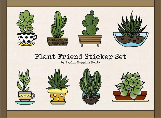 """New """"Plant Friends"""" stickers are coming next month!  Preorder yours now by sending me a message and I'll add you to my list of orders! (Sorry, my website is still under construction. That's being worked on, I swear.) You can buy them individually for $3 or the whole pack of 8 for $20.00.  Be sure to let me know which is your favorite in the comments!"""