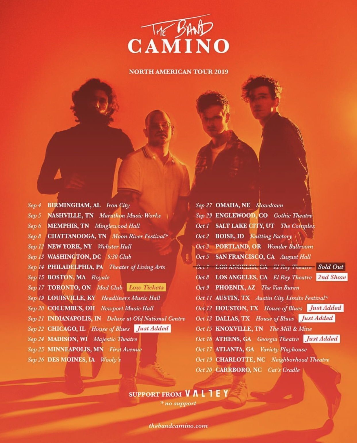 Check out Valley on tour with the Band Camino this fall!